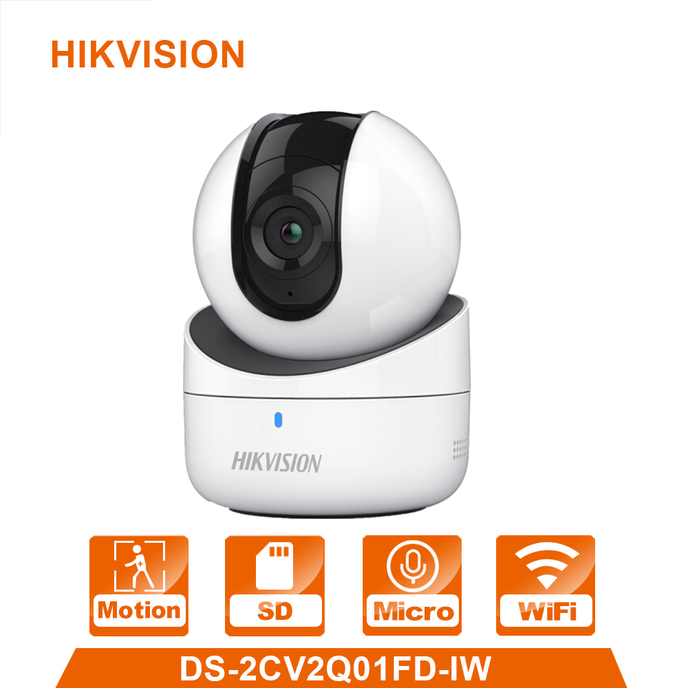 In Stock Hikvision Mini WiFi Camera 720P CMOS Wireless IP Camera DS-2CV2Q01FD-IW Wi-Fi Network PT Camera Built-in Speaker & SD original english ds 2cd2432f iw hik 3mp ir cube ip network microphone wireless camera poe wi fi pir detection