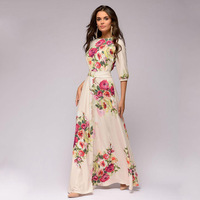 2019 Autumn Long Dress Women Winter Elegant Floral Printing Female Maxi Dress Chiffon Bohemian Evening Party Floor Length Dress
