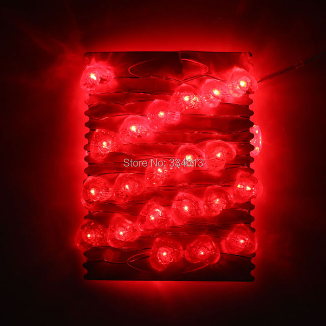 Battery Operated 3m 40led Red Heart Shaped String Lights Valentine Holiday Party Fairy Silver Wire With Remote