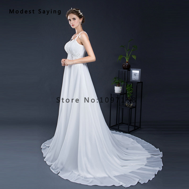 Elegant White Empire Beaded Pleated Straps Lace Pregnant Wedding ...