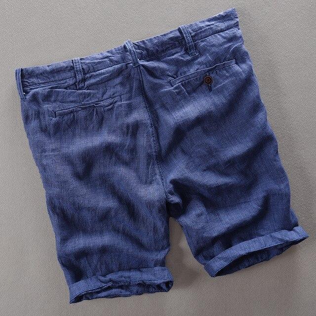 100% Linen Shorts Men Summer Short Pants 1