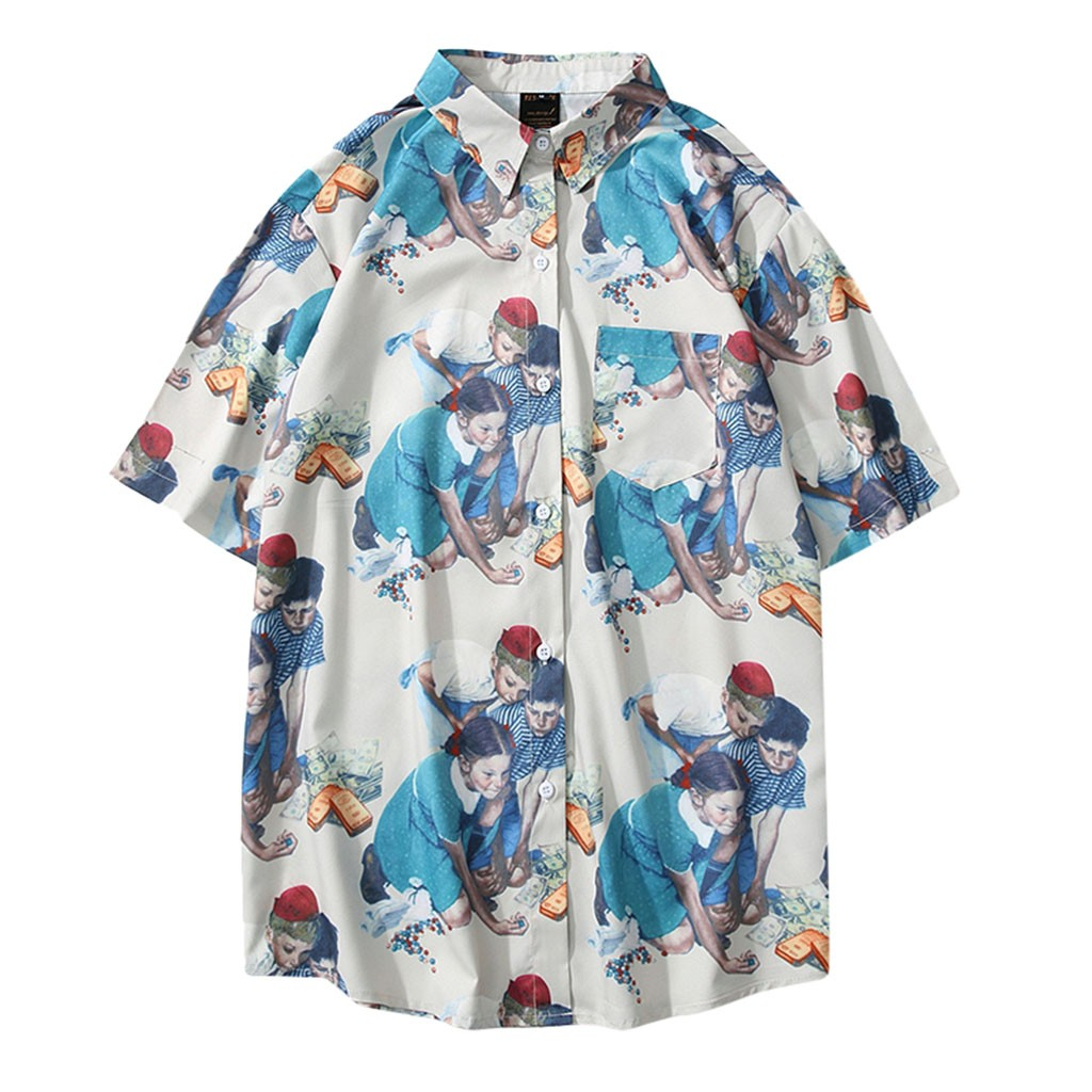 Womail 2019 New Arrivals Shirt Men Short Sleeve Loose Mens Fashion Summer Turn-Down Collar Casual Printed Hawaiian Shirt