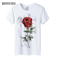 BINYUXD T Shirt Men 2016 New Fashion Summer Brand Clothing Cotton Print Red Rose Fun Man