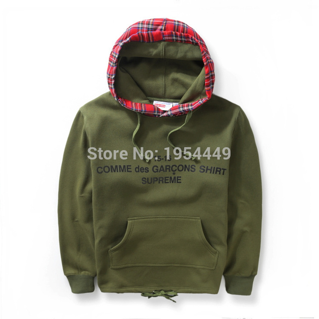 9088acaaf308b 2015 NEW 15-16 COMME des GARCONS SHIRT SUPREME camouflage Scotland lattice  men hoodie hiphop Fashion cotton sweatshirt 2 color