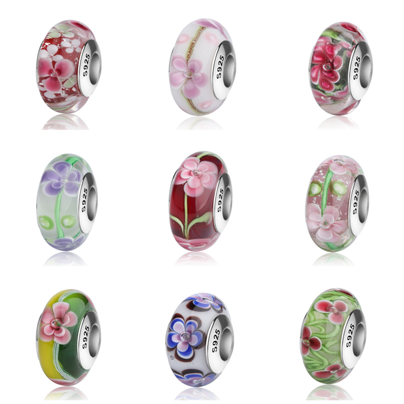 SG Aliexpress Murano glass beads sterling silver 925 diy colorful flower charms fit original pandora bracelets jewelry for gift