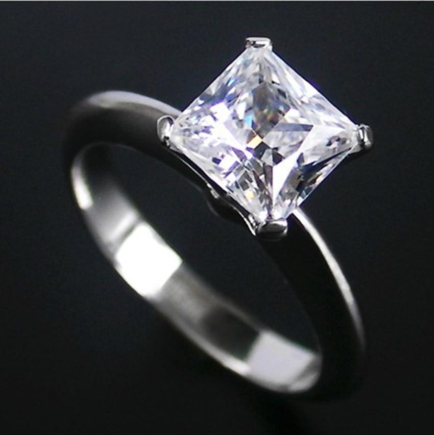 1ct Princess Cut Test Positive Real Moissanite Wedding Rings 14k 585