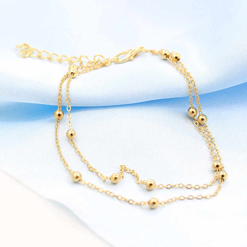 QCOOLJLY Golden Chic กระชับ Double Layer เจ้าสาวแต่งงาน Anklets Chain Charm ลูกปัดขาสร้อยข้อมือ Anklets เท้าเครื่องประดับสำหรับผู้หญิง