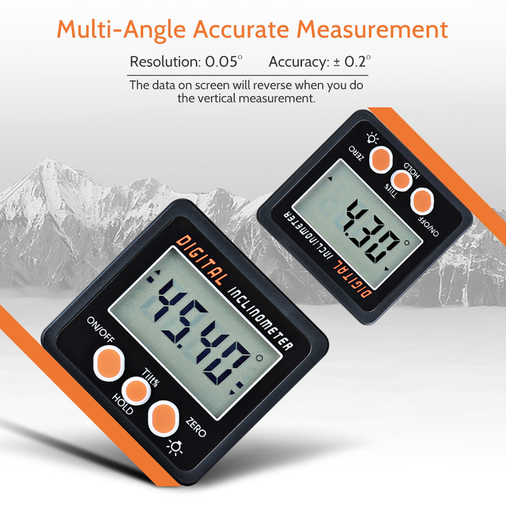Digital Inclinometer 360 Degree Electronic Protractor Aluminum Alloy Shell Bevel Box Angle Level Gauge Meter Magnets Base 225 degree digital protractor multi angle ruler angle level meter gauge aluminum alloy electronic inclinometer level