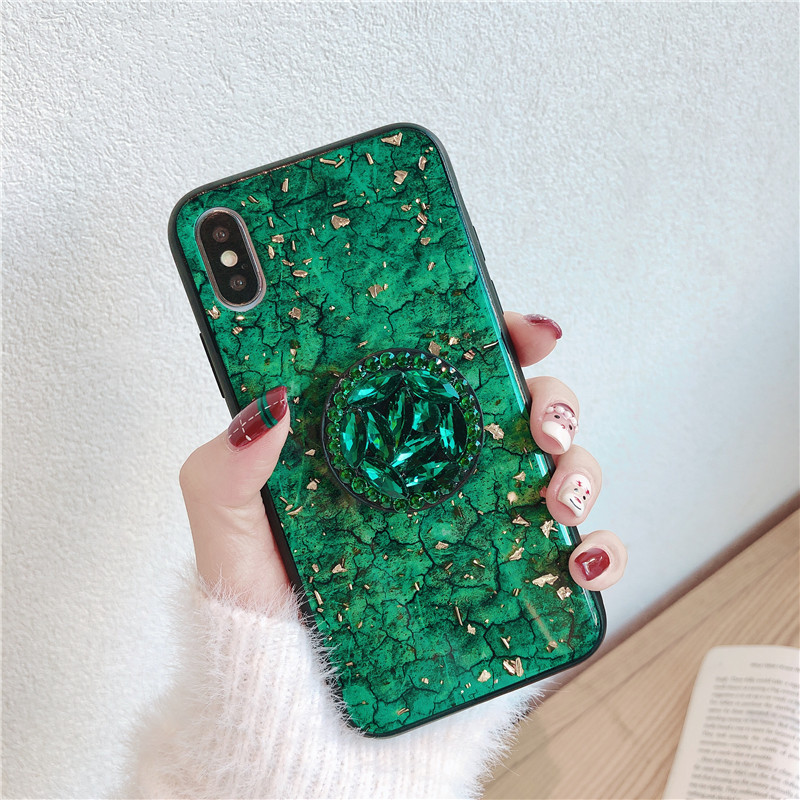 Green emerald marble pattern diamond extension bracket shiny silicone cover case for iphone MAX XS XR 6 S 7 8 plus X phone cases (8)
