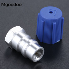 Mgoodoo 7/16 AC Service Charging Port Adapter Retrofits R12 R22 To R134a W/ Cap Removable Schrader Valve Core Low Side