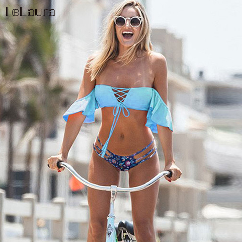 2018 Sexy Crochet Brazilian Bikini Swimwear Women Swimsuit Off Shoulder Bikinis Women Bandeau Biquini Ruffle Bathing Suit  1