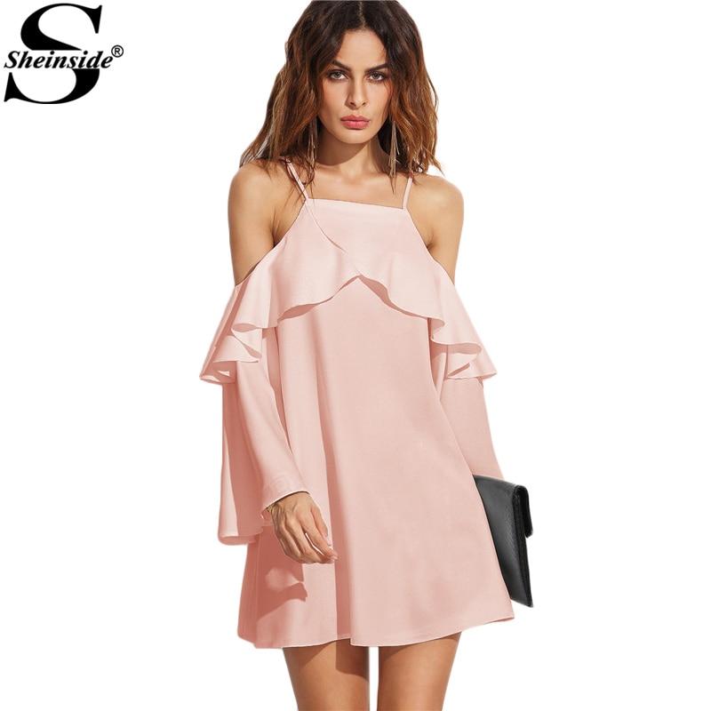 Sheinside Rosa Superposición Vestido de Partido Atractivo Del ...
