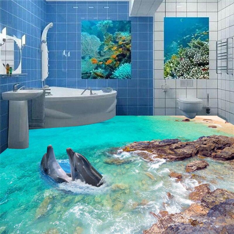 цена на Beibehang Bedroom Bathroom Self-adhesive wallpaper 3D Underwater World Dolphin Rock Bathroom floor wall wallpaper 3d flooring