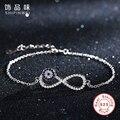 Shipinwei 2016 Fashion sterling-silver-jewelry blue crystal evil eye Big Infinity Bracelets Bangle for women wedding jewelry
