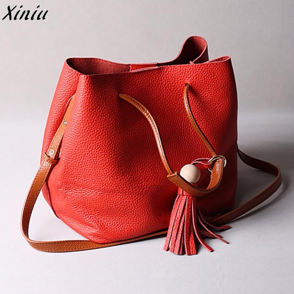Women Handbag Tassel Pendant Leather Satchel Shoulder Bag Vintage Tote Messenger Bag Bolsos De Mujer #6621