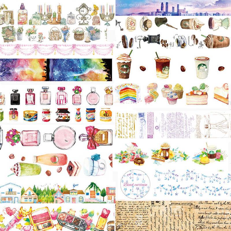 1 Uds cintas Washi Perfume café DIY cinta decorativa de papel decorativa cintas adhesivas Scrapbooking pegatinas
