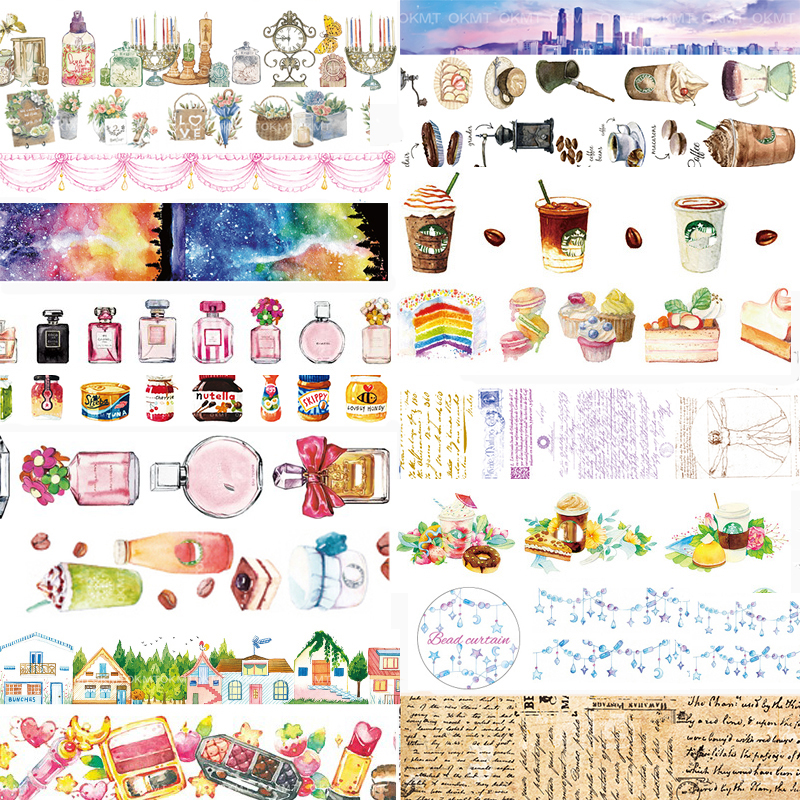 1 pcs Washi Tapes Perfume Coffee DIY Paper Masking tape Decorative Adhesive Tapes Scrapbooking Stickers student cute kawaii green plant washi tape colored flower masking adhesive tapes decorative stickers for diy diary 596
