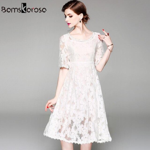 8b4d186d8003 New 2018 White Floral Lace Dress Women Vintage Summer Sweet Casual Sundress Elegant  Party Dresses vestido de festa