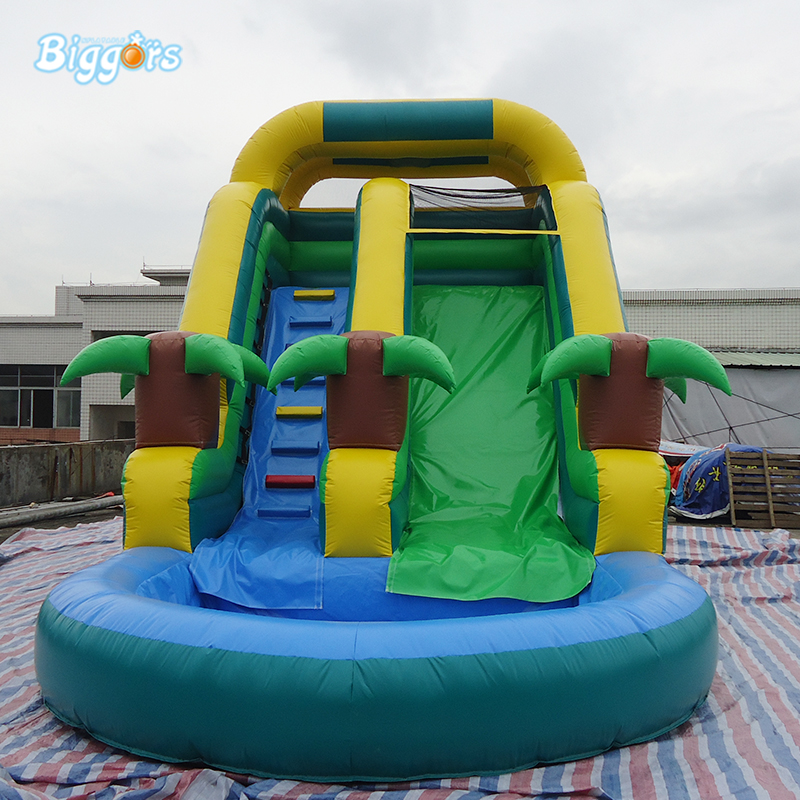 PVC Material Tropical Outdoor Green Inflatable Water Slides With Pool For Adults And Kids