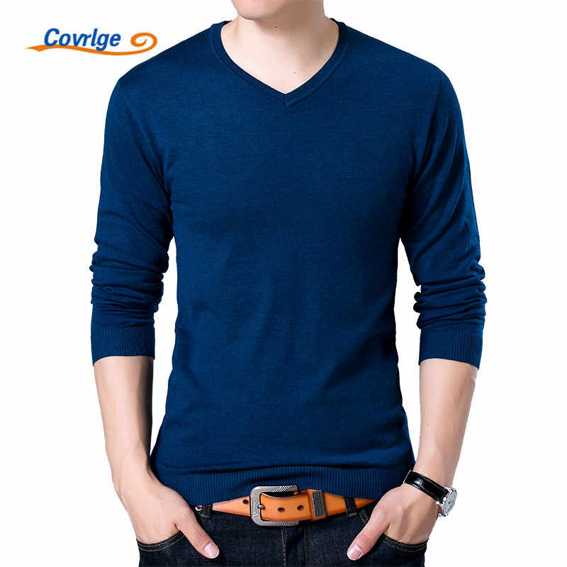 Covrlge Mens Sweaters 2019 Autumn Winter New Sweater Men V Neck Solid Slim Fit Men Pullovers Fashion Male Polo Sweater MZM004