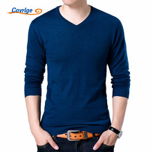 Covrlge Mens Sweaters 2017 Autumn New Sweater Men V Neck Solid Slim Fit Pullovers Fashion Male Polo MZM004