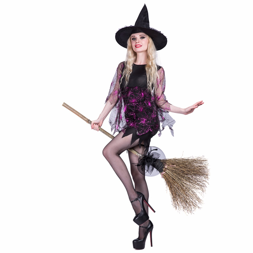 2017 vampire costumes shining spider witch dress and hat set female party cosplay lace dress scary halloween costumes for women - Cheap Creepy Halloween Costumes