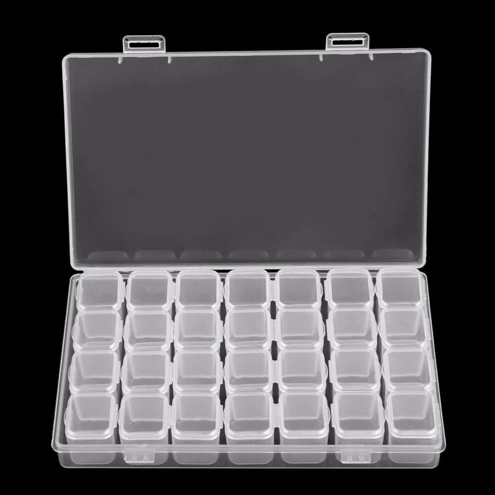 Round shape Earplug Container Bead Craft Case White Storage Clear Box Plastic IJ