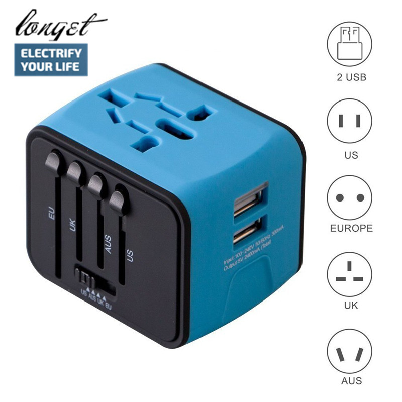 LONGET Universal Travel Adapter Eisen-M All-in-one International Travel Ladegerät 2.4A Dual USB Ladegerät für UNS, UK, EU, AU