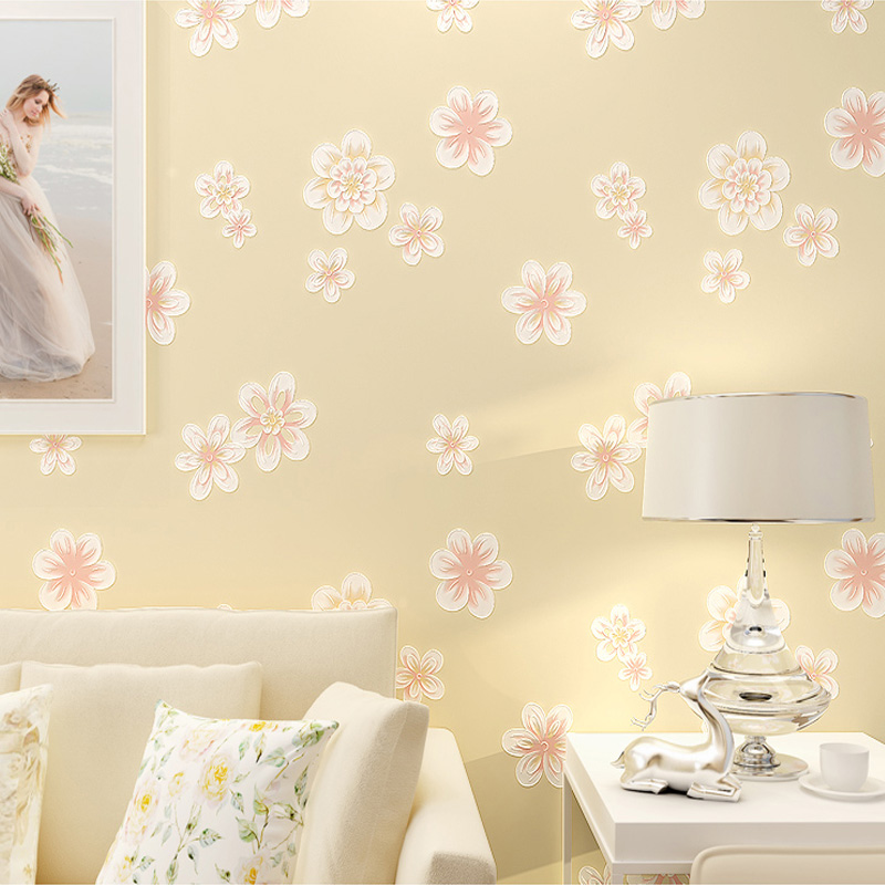 Pastoral Flower Breathable Non woven Wallpaper 3D Stereo Floral ...