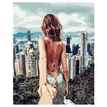 RIHE Couple City Travel DIY Painting By Numbers Hand Painted Figure Oil For Wall Art Picture Lovers Home Decoration