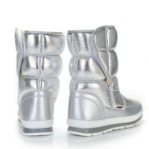 Image 4 - Buffie מותג חורף מגפי כסף נשים שלג מגפי פרווה מדרסים ליידי חם נעלי ילדה אופנה אמצע culf משלוח חינם נחמד למראה