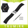 Силиконовые Каучуковый Ремешок 22 мм для LG G Watch W100 R W110 урбанистический W150 Безопасности Из Нержавеющей Стали Пряжки Наручные Пояса Браслет Черный