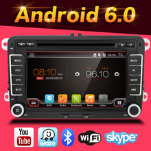 "7 ""2 Din Quad Core Android 6.0 DVD Del Coche Para Volkswagen VW golf polo tiguan touran caddy passat B6 jetta sharan transporter t5 gps"