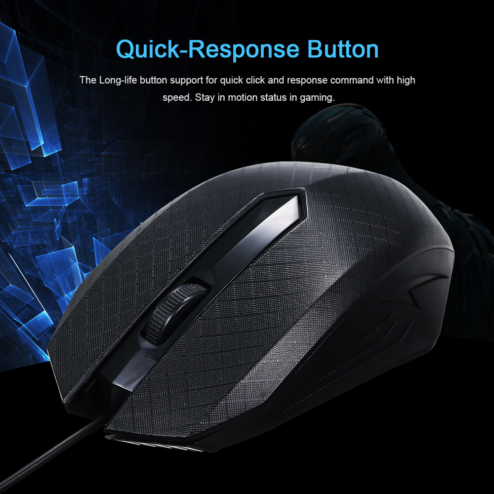 3-Button 1600 DPI  Gaming Mouse USB Optical Wired Mouse With 1.1M Cord Compatible For MacOS Windows 7/8/10/XP