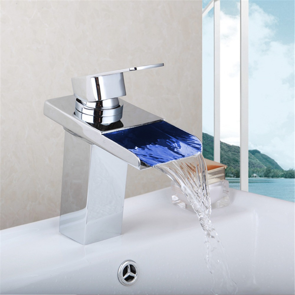 Luxury LED Color Changing Basin Faucet Bathroom Deck Mount Waterfall Glass Mixer Taps Chrome Finish Single Handle Faucets