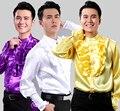 Dance Performance Cantata Apparel Shiny Men 's Shirt European Court Lace Shirt