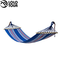 Garden Hanging Hammock With Wooden Stick Prevent Rollover Portable Patio Terrace Yard Sleeping Hamaca Leisure Rede