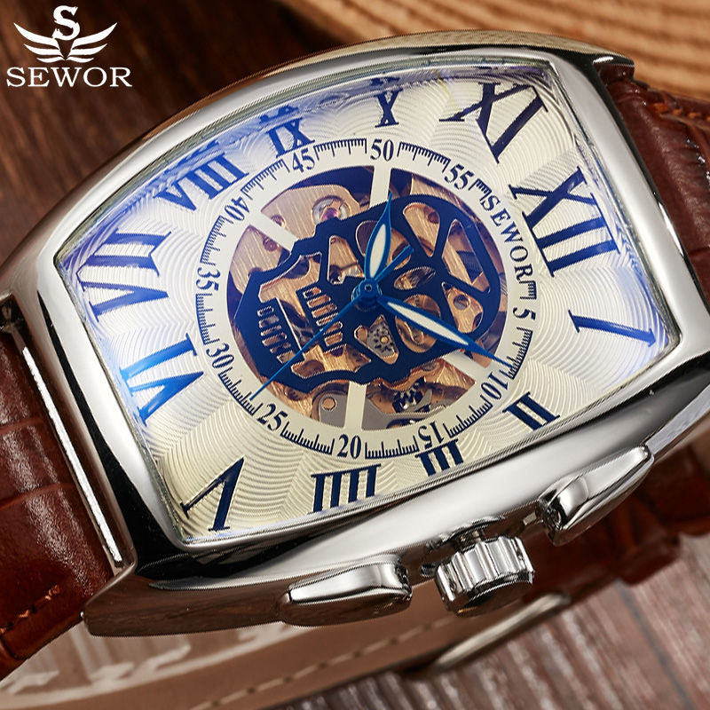 SEWOR Skull Style Skeleton Automatic Mechanical Watches Brand Men Genuine Leather Men Sports Watch Waterproof Relogio Masculino airsoft adults cs field game skeleton warrior skull paintball mask