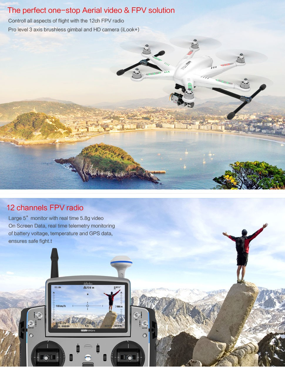 dji phantom 2 vision plus pk Walkera TALI H500 Perfect one-stop FPV Drone RTF Hexrcopter with G-3D Gimbal iLook+ Camera IMAX B6 Charger Transmitter