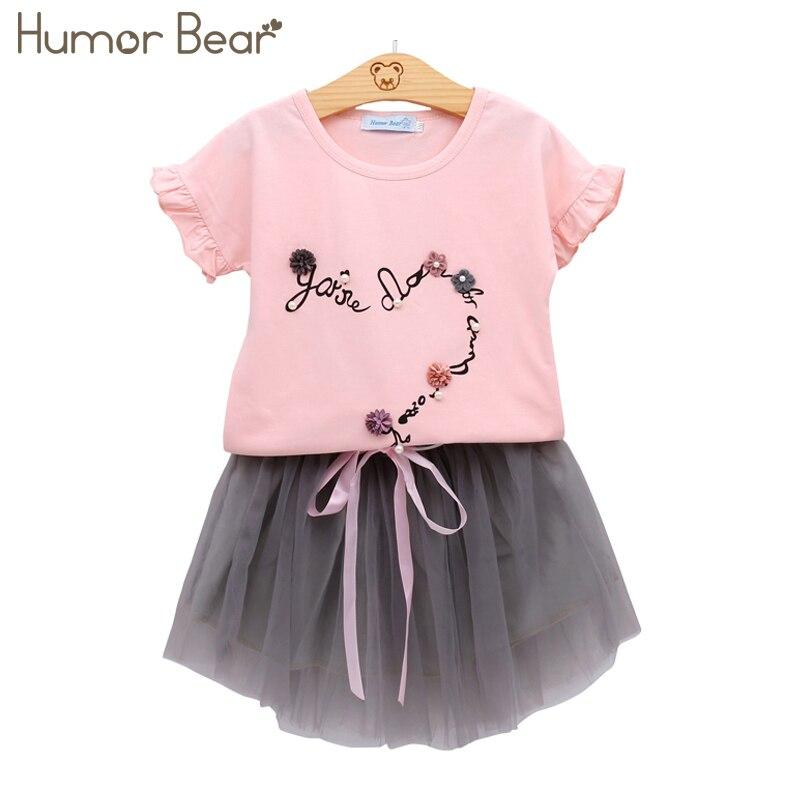 Humor Bear Summer Girls Clothing Set T Shirt + Dress 2pcs Children Clothes Suits Fashion Clothes Children Clothing