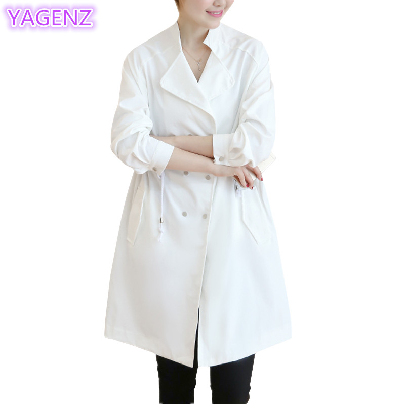 YAGENZ Windbreaker Spring Autumn Long-Section White Women Ladies New And A77 Thin Pure-Color