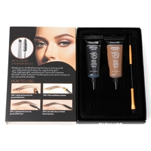 2pc Waterproof Tint Eyebrow Henna With Mascara Eyebrows Paint Brush Beauty Tool