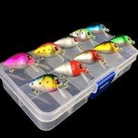 Juego de 10 Uds de Señuelos de pesca con Mini manivela de gran calidad con caja de almacenamiento Crankbait swimbait boca pequeña bass pesca de carpa