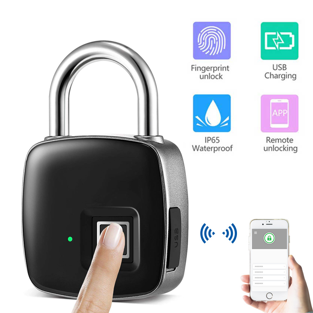 Aimitek P3+ Bluetooth Fingerprint Padlock Smart Lock Keyless Biometric Security Waterproof Touch USB Charging Door Case Gym Lock
