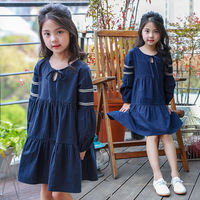 Dress Girl Limited Knee Length Bow A Line Full Striped Vestidos Mujer Spring 2018 New Children