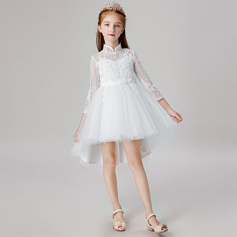Fashion White Bow Handmade   Flowers     Flower     Girl     Dresses   Long Sleeve Kids Pageant Gowns Long   Flower     Girl     Dresses   For Weddings