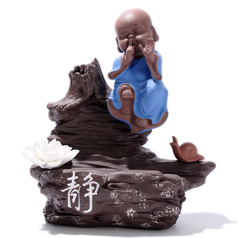 Yixin Creative Monk Smoke Backflow Cone Incense Burner Static Zen Home Decoration Buddhist Monk Sandalwood Furnace G $