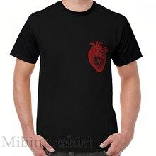 Divertido los hombres t camisa mujeres tee Vintage anatomía corazón Camiseta cuello Casual de manga corta Camisetas