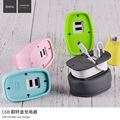 Hoco de armazenamento casaco retroflex smar carregador 5 v 2.1a carregador dual usb carregador de viagem para iphone para xiaomi samsung huawei