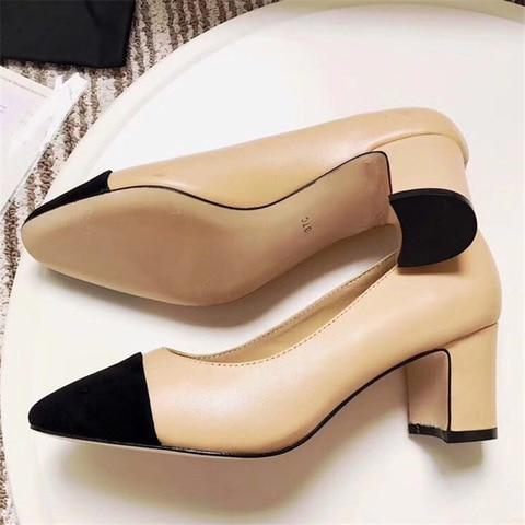 Women Genuine Leather Shoes High Heel Mary Jane Shoes Ladies Pumps Sheepskin Luxury Women Shoes Fashion Mixed Color Shoes Women Karachi